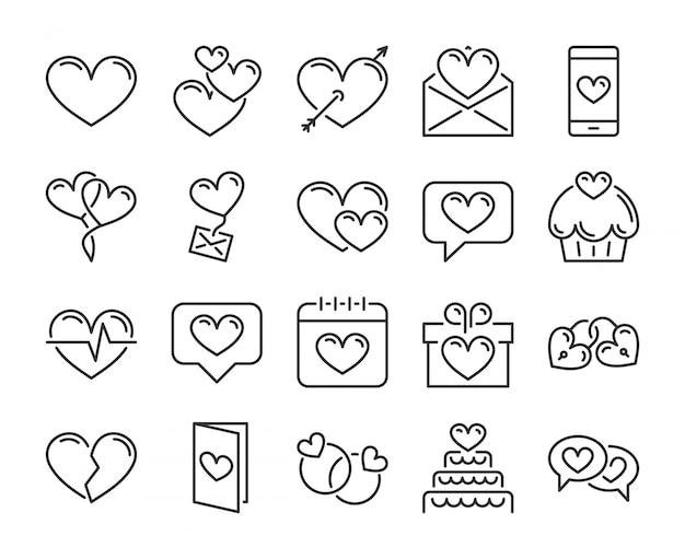 Love icon. romantic, hearts , valentines day line icons set. editable stroke, pixel perfect. Premium Vector