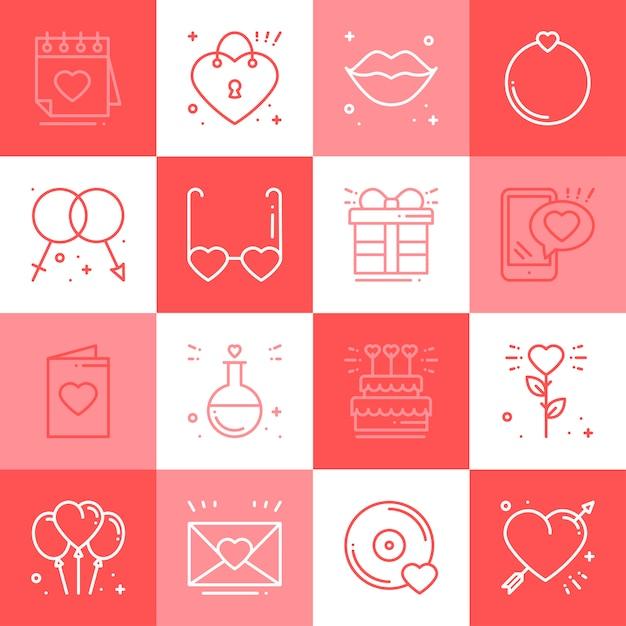 Love icons set. Premium Vector