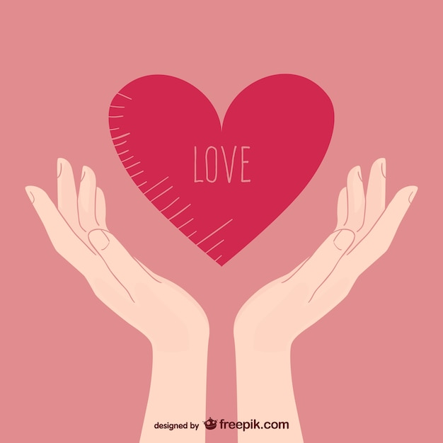 Love illustration with hands Free Vector
