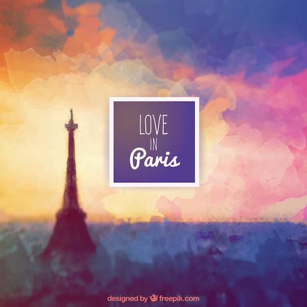 Love in Paris background Free Vector