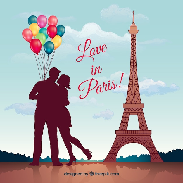 I Love Paris Wallpaper cartoon : Love in paris Vector Free Download