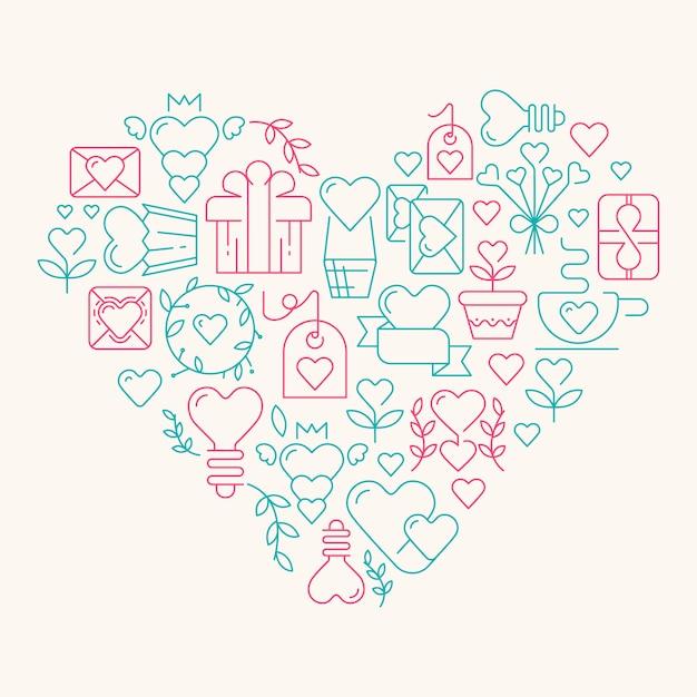 발렌타인 데이 일러스트를 상징하는 많은 요소가있는 거대한 마음의 사랑 무료 벡터