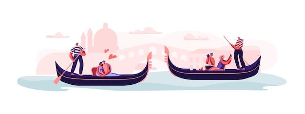 ヴェネツィアの愛。運河の概念図に浮かぶゴンドラとゴンドラに座っている幸せな愛情のあるカップル Premiumベクター