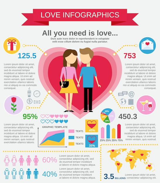 Love infographic template set Free Vector