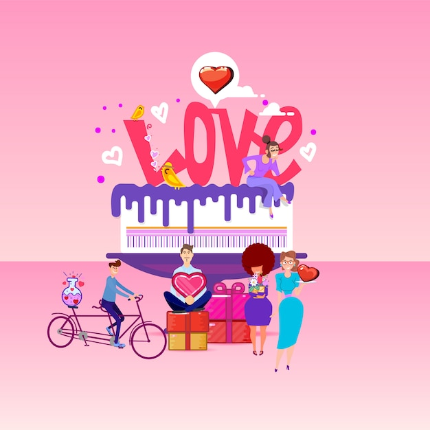 Love inscription on a big cake and tiny people around. Premium Vector