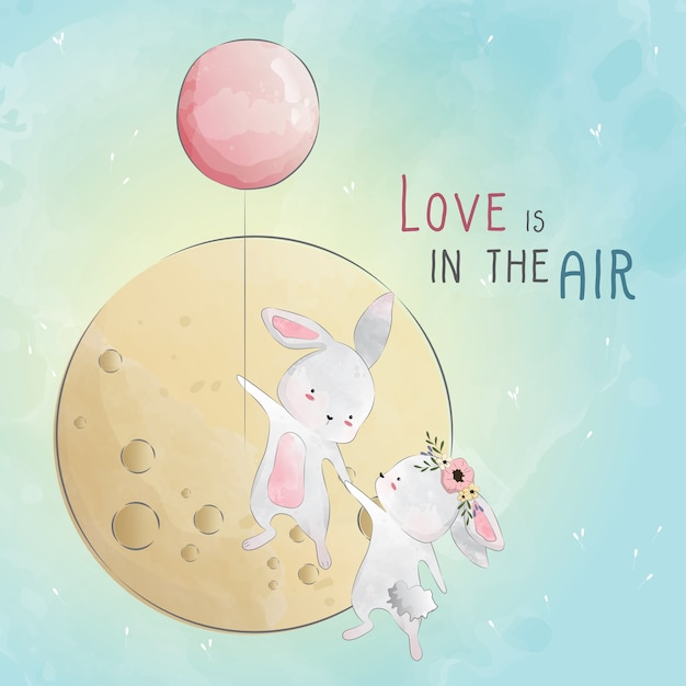 Love is in the air bunny love Premium Vector