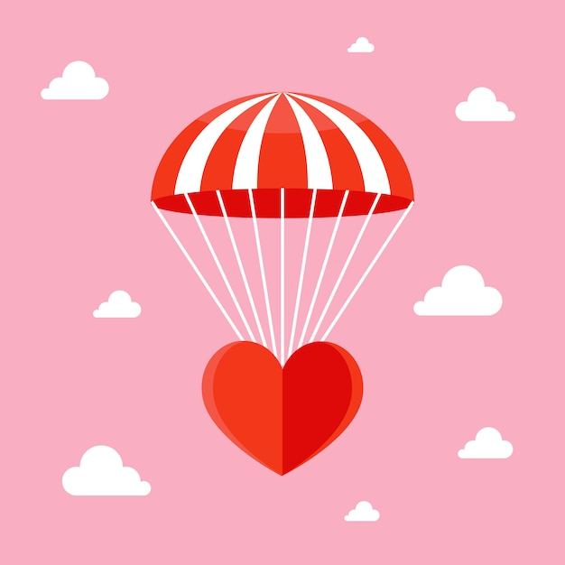 Love is in the air. falling heart with a parachute in the sky. Premium Vector