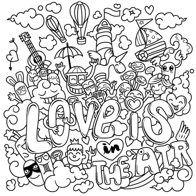 Love is in the air. hand drawn, illustration of doodle cartoon Premium Vector