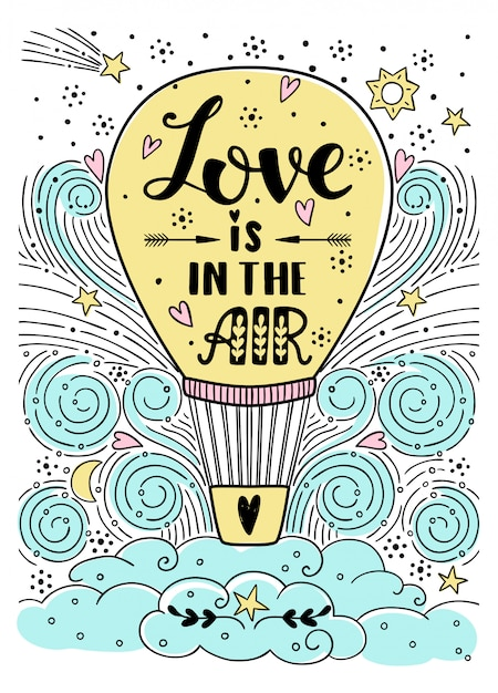 Love is in the air illustration Premium Vector