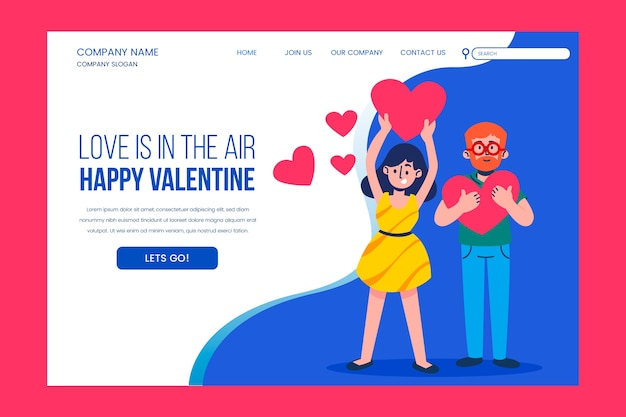 Love is in the air landing page Free Vector