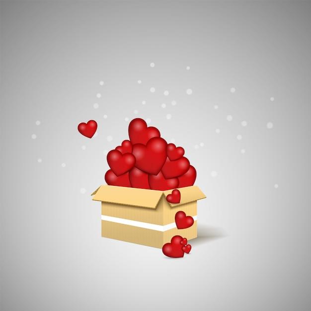 Love is in the air. love box. surprise box illustration. Premium Vector