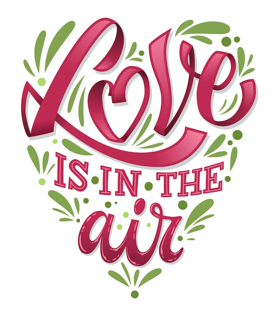 Download Love is in the air valentines day lettering illustration ...