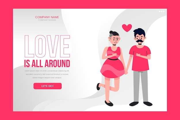 Love is all around landing page Free Vector