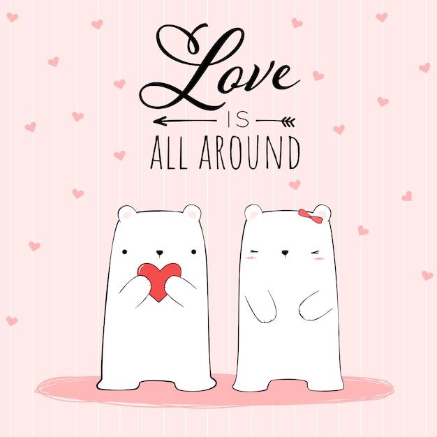 Симпатичная рука, рисующая пару любовника белого медведя с love is all around цитата Premium векторы