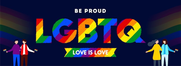 Love is love concept for lgbtq community with illustration Premium Vector