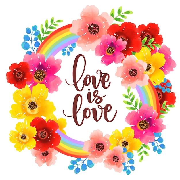 L'amore è l'amore orgoglio calligrafia fiori dell'acquerello Vettore gratuito