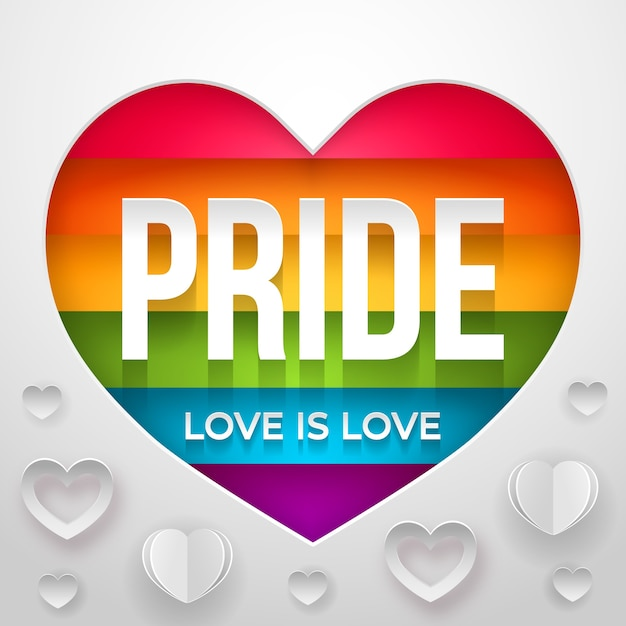 Love is love pride day concept Free Vector