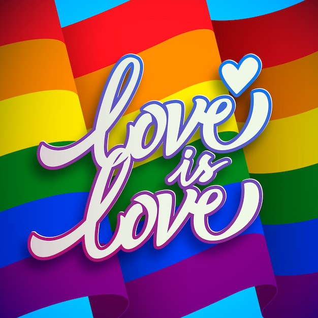 Love is love pride day lettering Free Vector