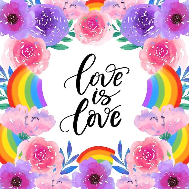L'amore è amore orgoglio scritte fiori ad acquerelli Vettore gratuito