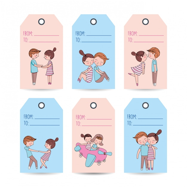 Love labels with couples Premium Vector
