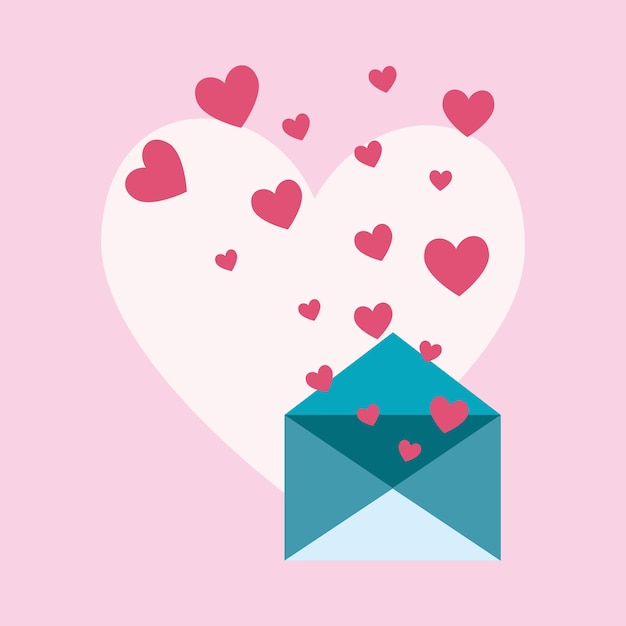 Love Letter Design With Envelope And Hearts Icon Vector