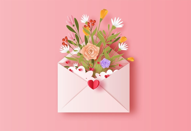 Love letter with a bunch of flowers in paper illustration Premium Vector