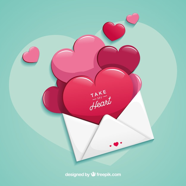 love letter with flat design free vector