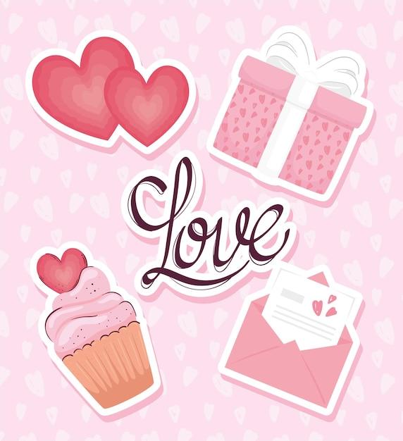 Любовная открытка с набором значков иллюстрации Premium векторы