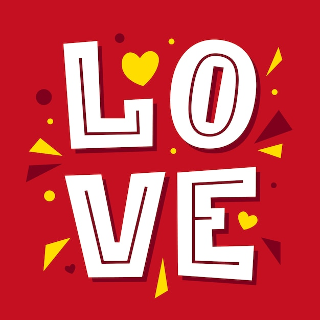 Love lettering. happy valentines day card.  font type. Premium Vector