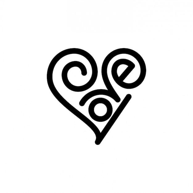 Love lettering logo Premium Vector