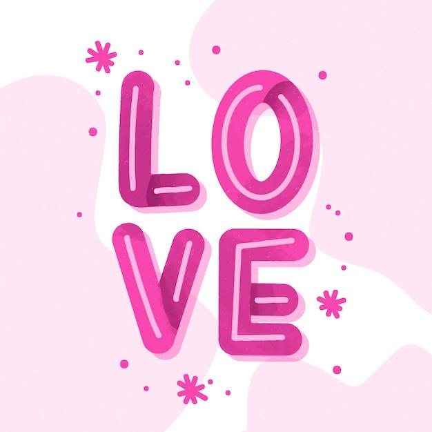 Download Love lettering pink design   Free Vector