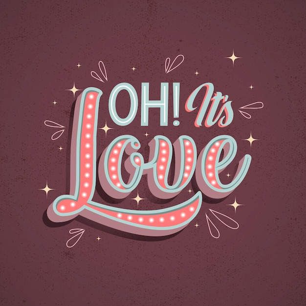 Love lettering in vintage style design Free Vector