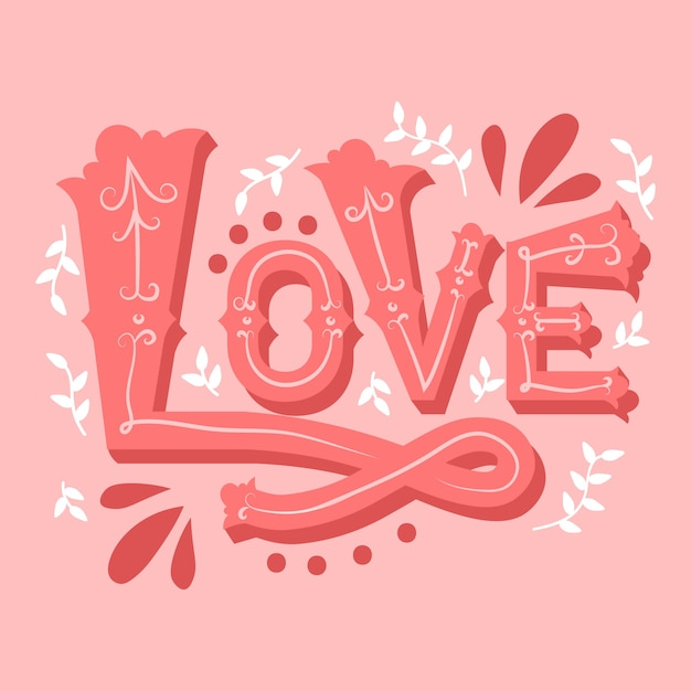 Love lettering in vintage style Free Vector
