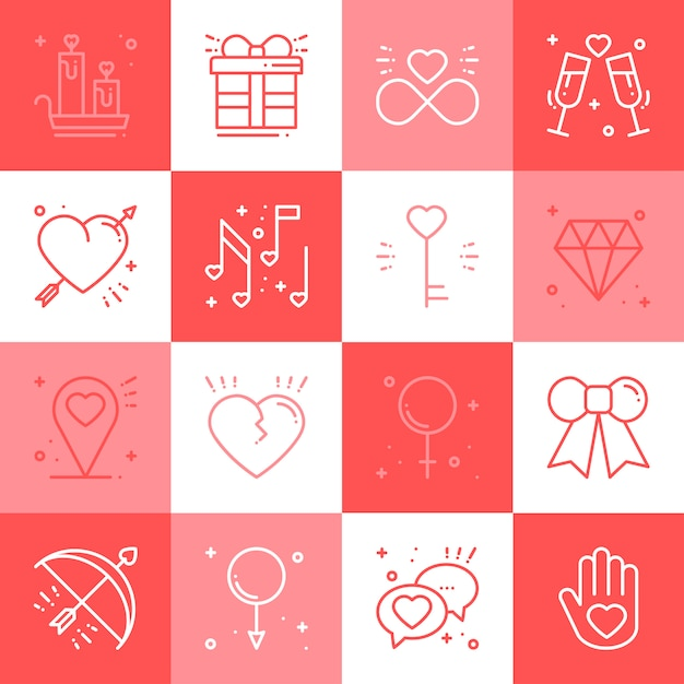 Love line icons set. Premium Vector