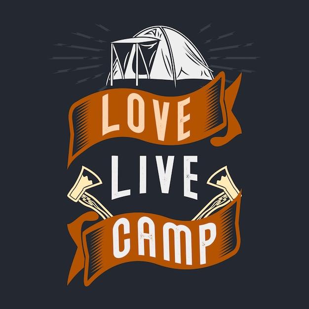 Love live camp. Premium Vector