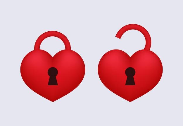 Замок любви открыт и заперт. Premium векторы