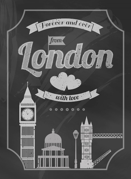 Love london chalkboard retro poster with big ben bridge Free Vector