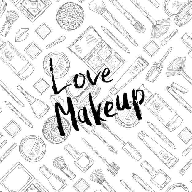 Love makeup lettering ink illustration Premium Vector