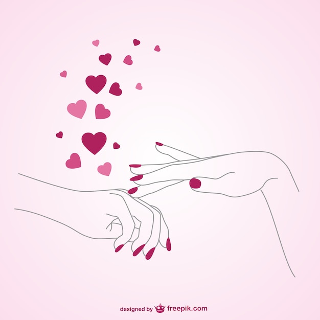 Love manicure Free Vector