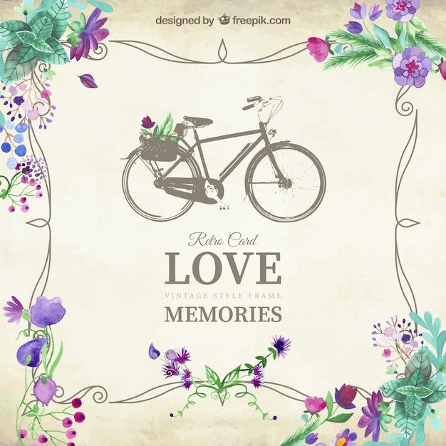 Love memories card with vintage bicycle Free Vector