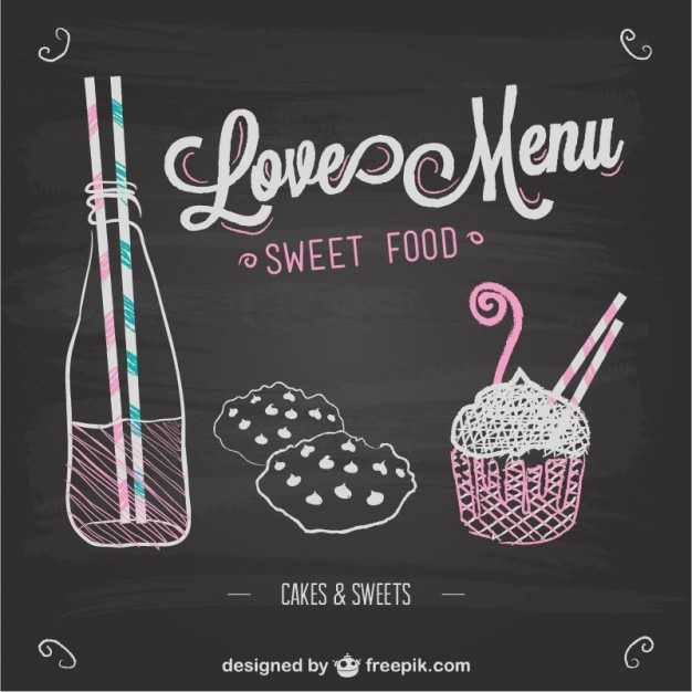 Love menu chalkboard template Free Vector