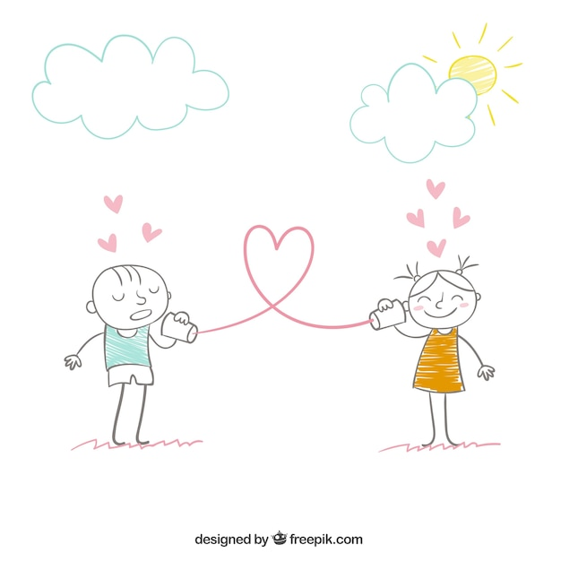 Love message concept in hand drawn style Free Vector
