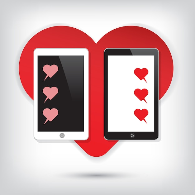 Love Mobile Phone With Heart Chat Vector Premium Download