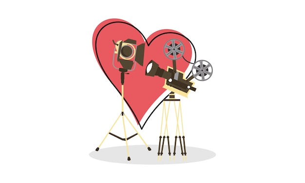 Love movie heart cinema film creative simple logo illustration Premium Vector