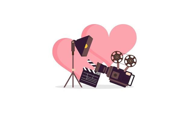 Love movie heart cinema film creative simple logo illustration Premium Vector