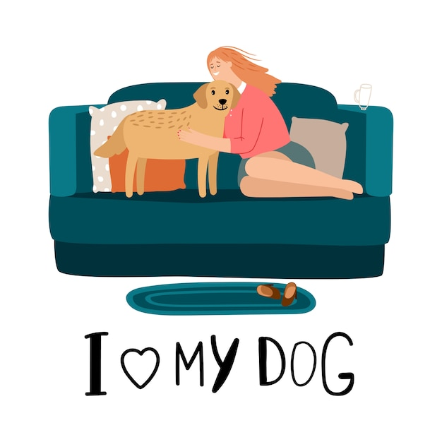 Love my dog card Premium Vector