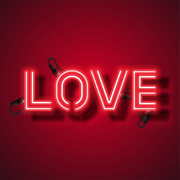 Love neon design Premium Vector