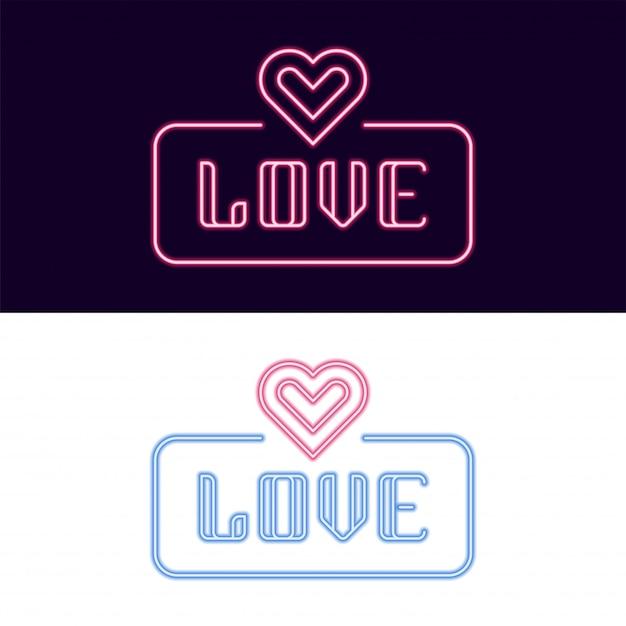 Любовный неоновый шрифт со значком сердца Premium векторы