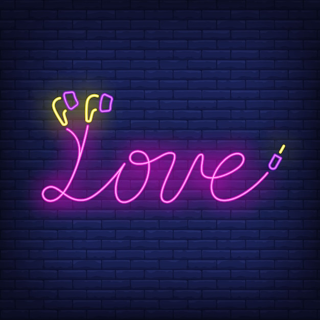 Love neon lettering made of earphones cable Free Vector