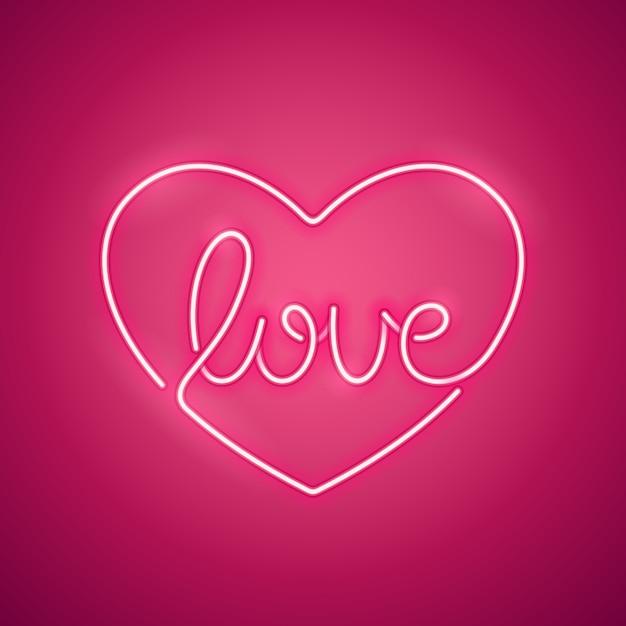 Download Premium Vector   Love neon sign pink